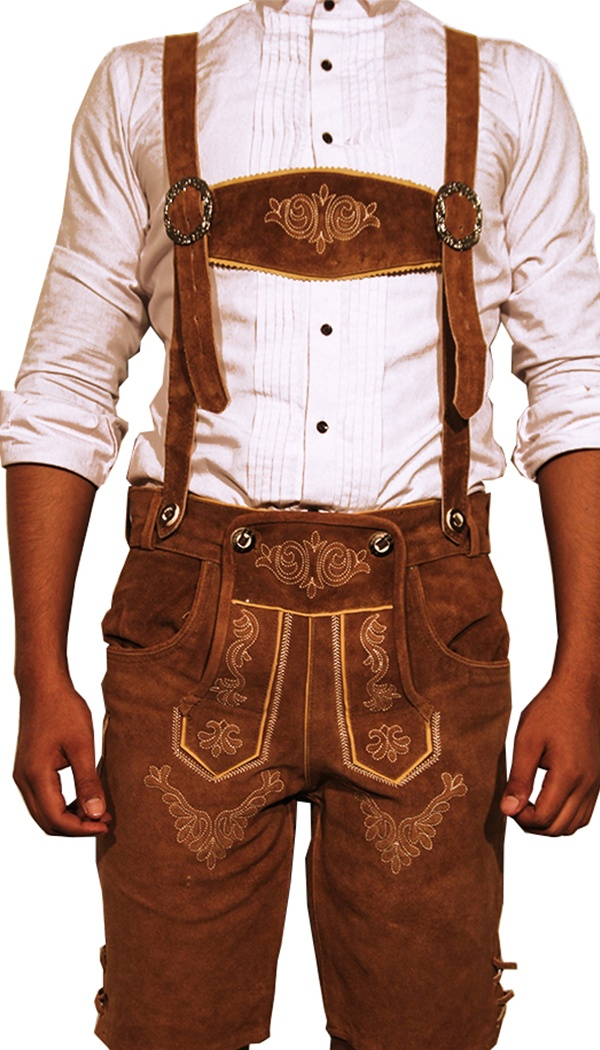 Trachten Short Lederhosen Dark Camel Brown