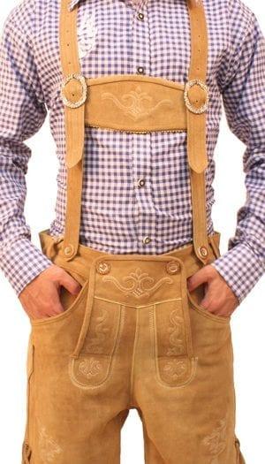 Bavarian Short Lederhosen Light Brown Wood