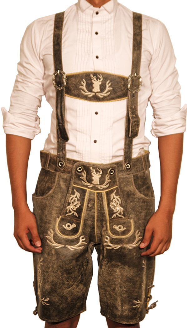 Traditional German Lederhosen Gray Slate