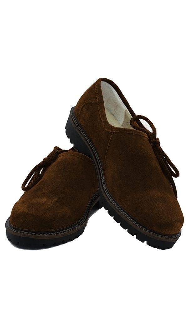 Traditional Lederhosen Plain Shoes Camel Brown