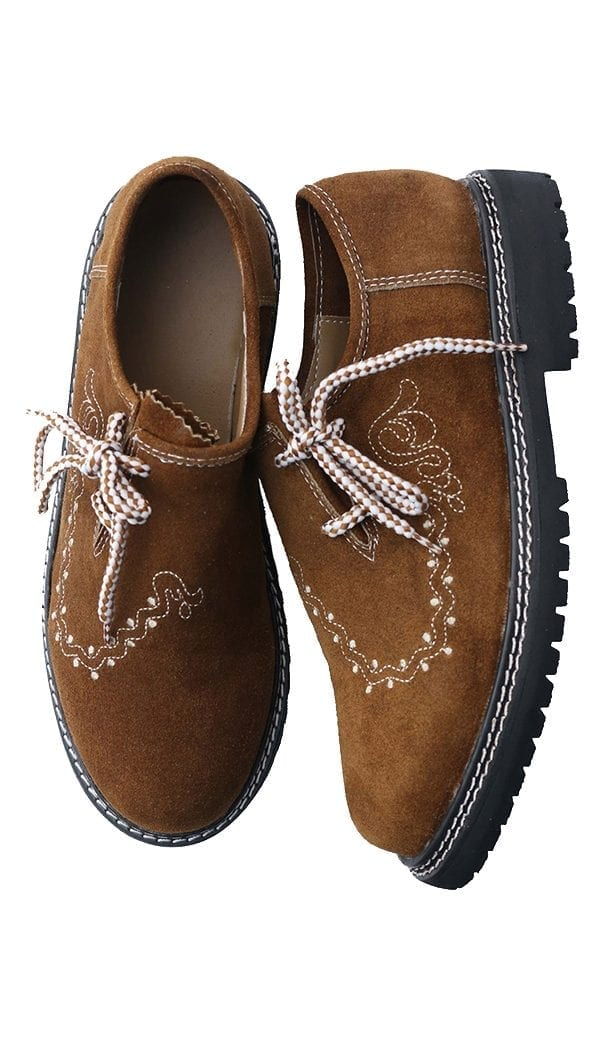 Traditional Lederhosen Embroidered Shoes Camel Brown