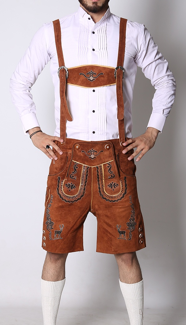 German Mens Lederhosen Brown Deer Motif For Sale