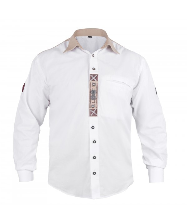 Trachten Shirt Embroidered White