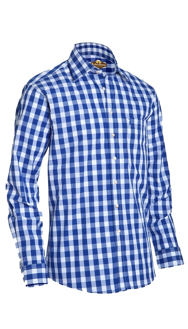 Trachten Shirt diamond Checkered Admiral Blue
