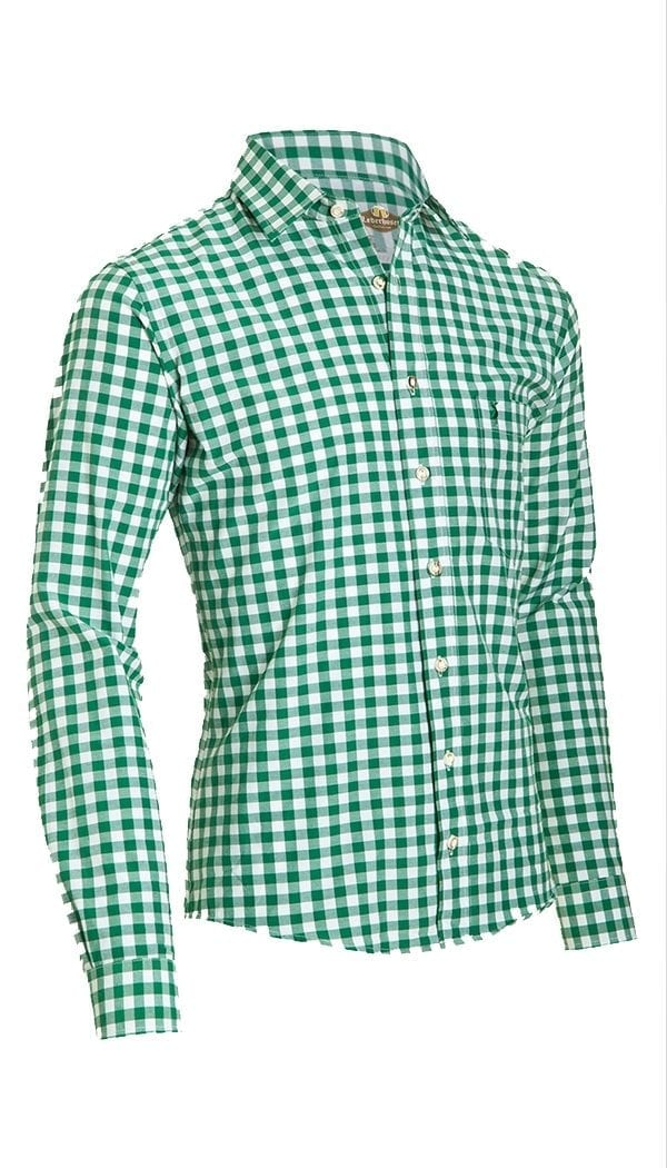 Trachten Shirt Small Checkered Dark Green
