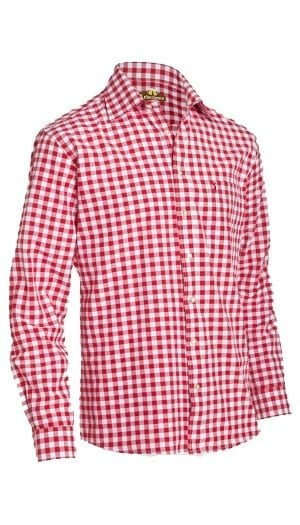 Trachten Shirt Small Checkered Dark Red