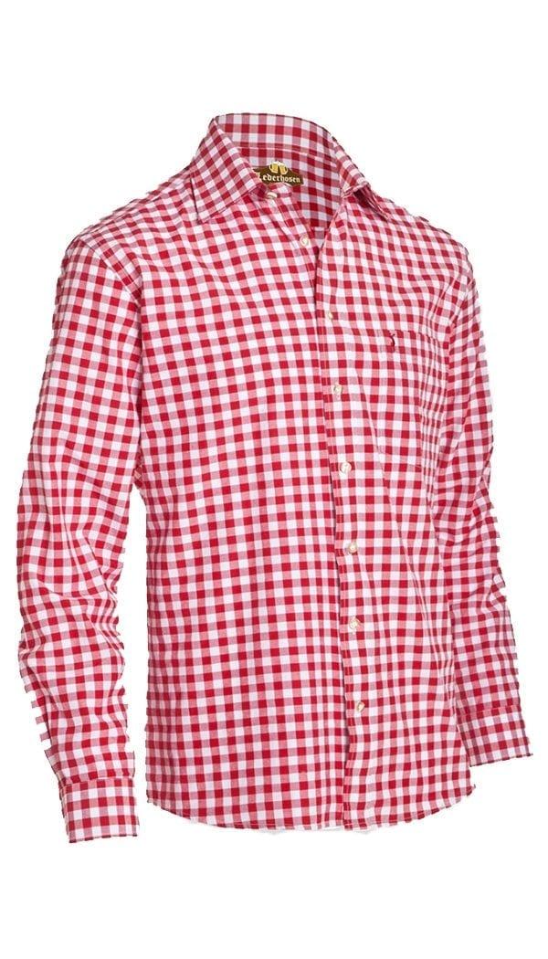 Trachten Shirt Small Checkered Dark Red