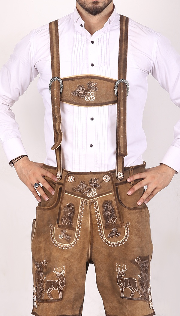 Trachten Short Lederhosen Real Shaded Brown 1