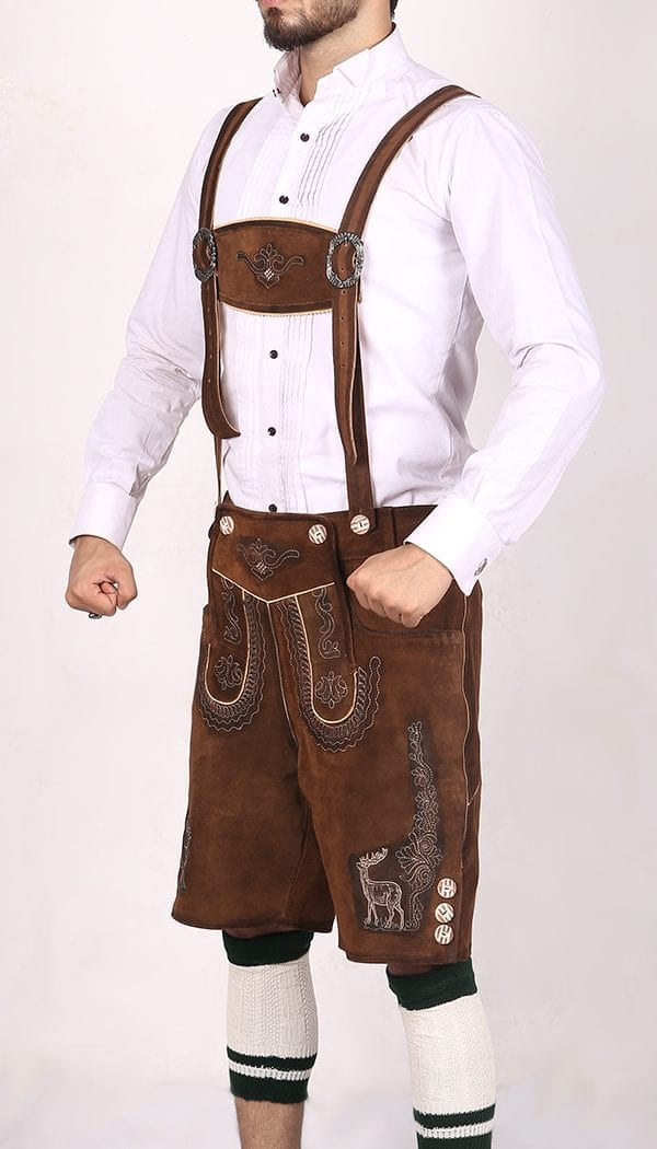 German Mens Lederhosen Shaded Brown Deer Motif 2