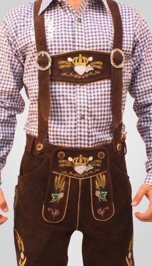 Bavarian Herren Lederhosen Dark Brown 1